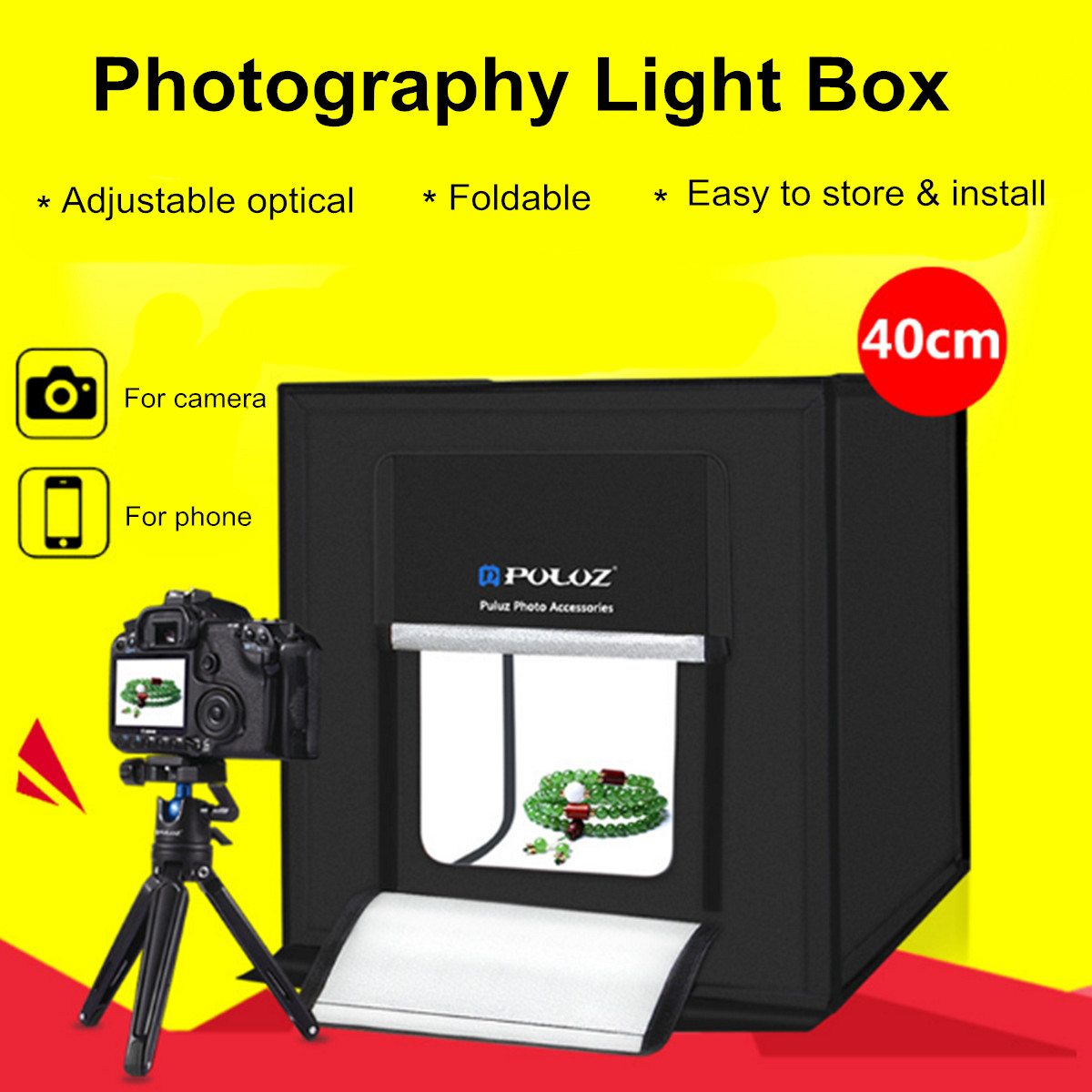 купить PULUZ 40cm Mini Foldable Studio Light Box Portable Photography Box Photo 30W 64 Led Kit Tent Cube With White Black Backdrop онлайн