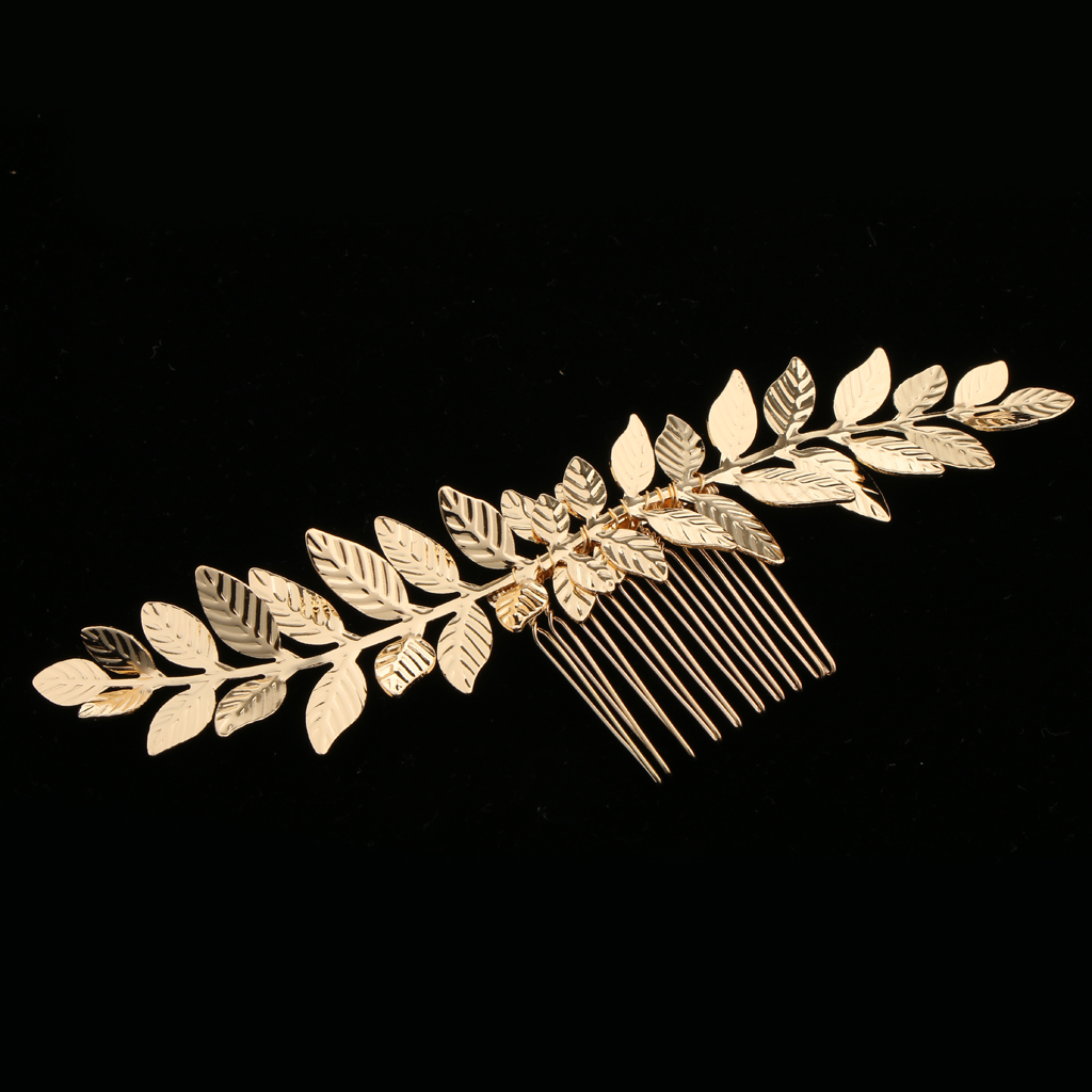 prettyia Vintage Gold Olive Leaves Vine Hair Comb Wedding Bridal Hair Accessories for finishing a vintage elegant hair style