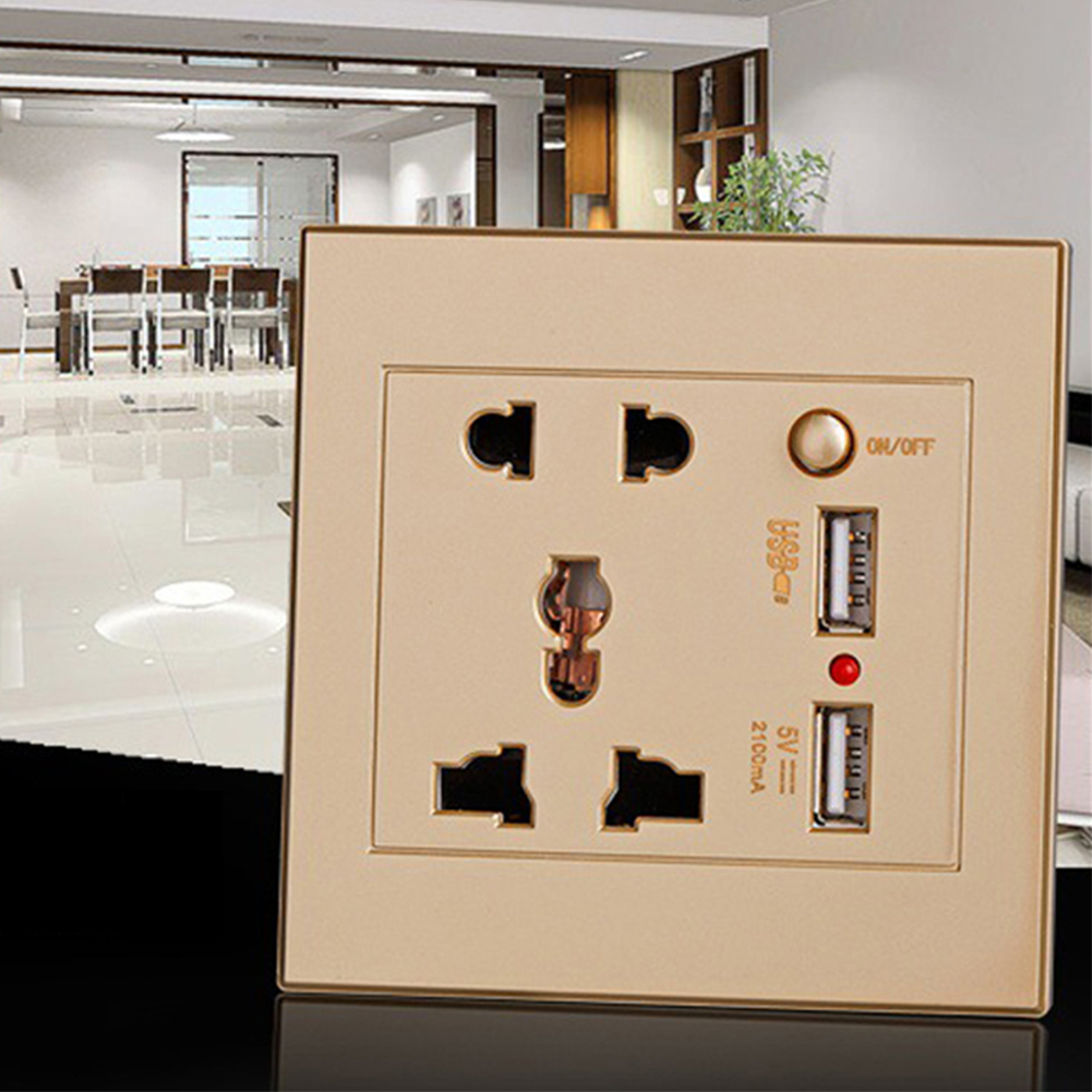 Wall Socket Home Fittings Receptacle Charger Power Adapter Port Outlet Panel Anti Impact Easy Install Dual USB