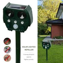 Ahuyentador de animales, luz Solar, ahuyentador de pájaros, alarma antirrobo, luz estroboscópica ultrasónica de inducción