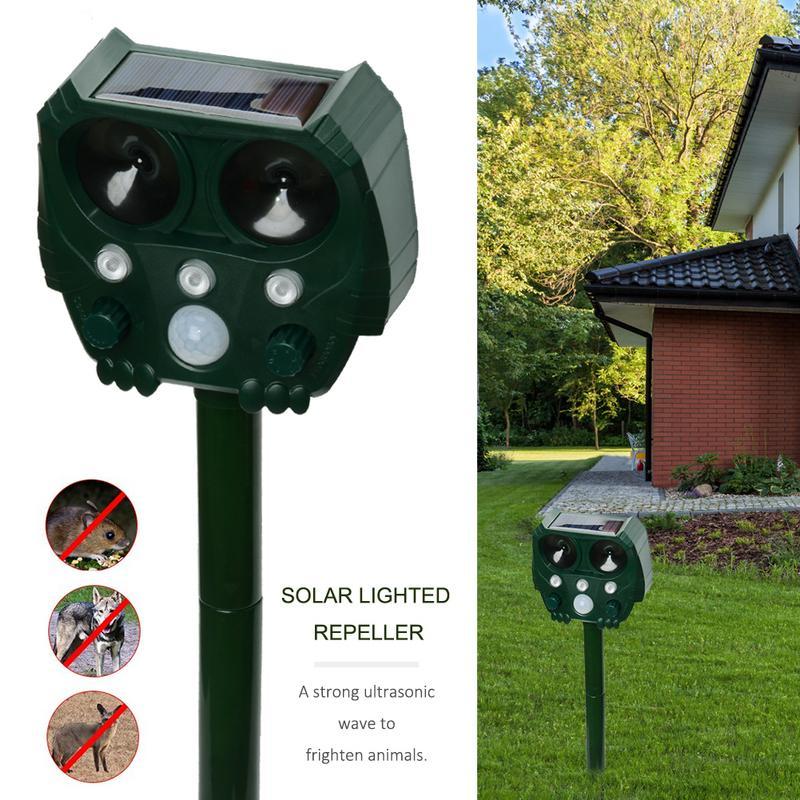 Animal Repeller Solar light bird repeller frighten animals Induction Ultrasonic Strobe Light Burglar Alarm-in Repellents from Home & Garden
