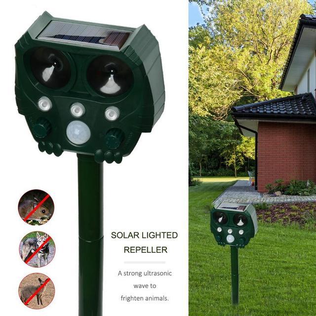 Animal Repeller Solar light bird repeller frighten animals Induction Ultrasonic Strobe Light Burglar Alarm