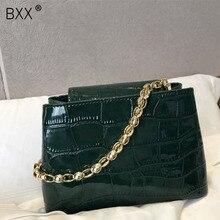 [BXX] 2020 Women Chain Handbag Korean Vintage Crocodile Pattern Single Shoulder Package Bag