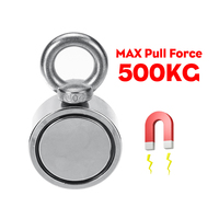 New 500KG Double sided Powerful Round Neodymium Magnet Hook Salvage Magnet Sea Fishing Equipments Holder with Ring and 10M Rope
