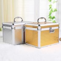 Large Capacity Waterproof Cosmetic Case Aluminum Alloy with Password Lock Mirror Cosmetic Bag Makeup Storage Tin Box Organizer