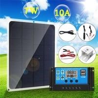 Hot Sell Outdoor Solar Panel 7W 12V/5V Portable Solar cell Emergency Power Supply Solar Generator USB+10A Solar Controller ect