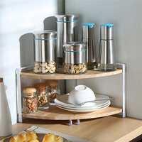 2 Tiers Corner Kitchen Shelf L Shaped Cutlery Stand Dish Bowl Rack Nuts Can Jar Storage Organizer Wooden Triangle Display Rack