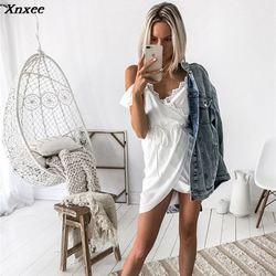 Xnxee seksowna biała sukienka na szelkach odzież damska lato kleider krótka sukienka sukienka moda backless patchwork vestidos jurken 3