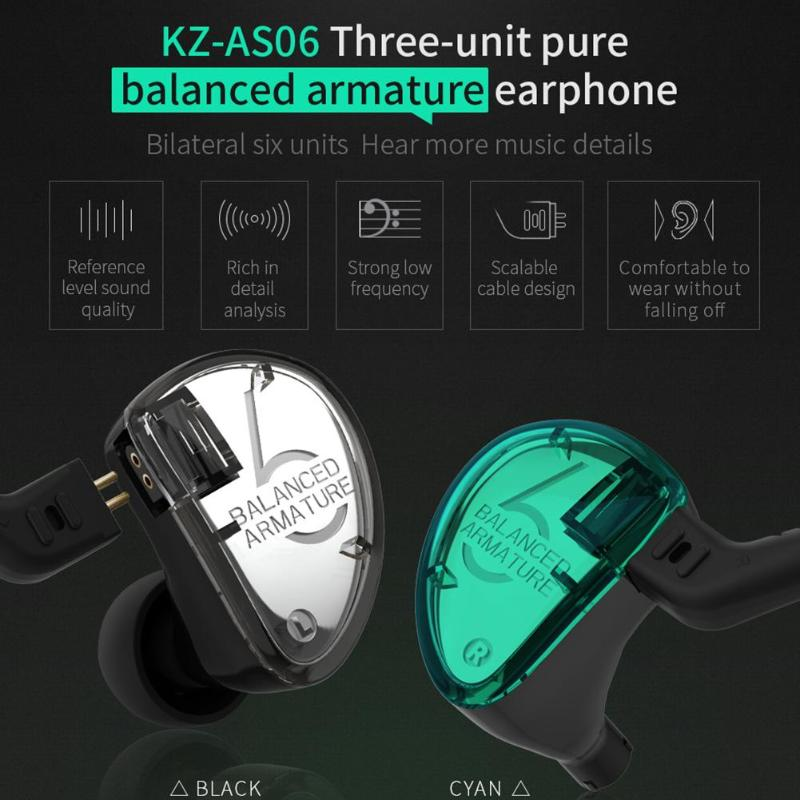 KZ AS06 Headphones 3 Balanced Armature Driver In Ear Earphone HIFI Bass Monitor Earphone Earbuds With
