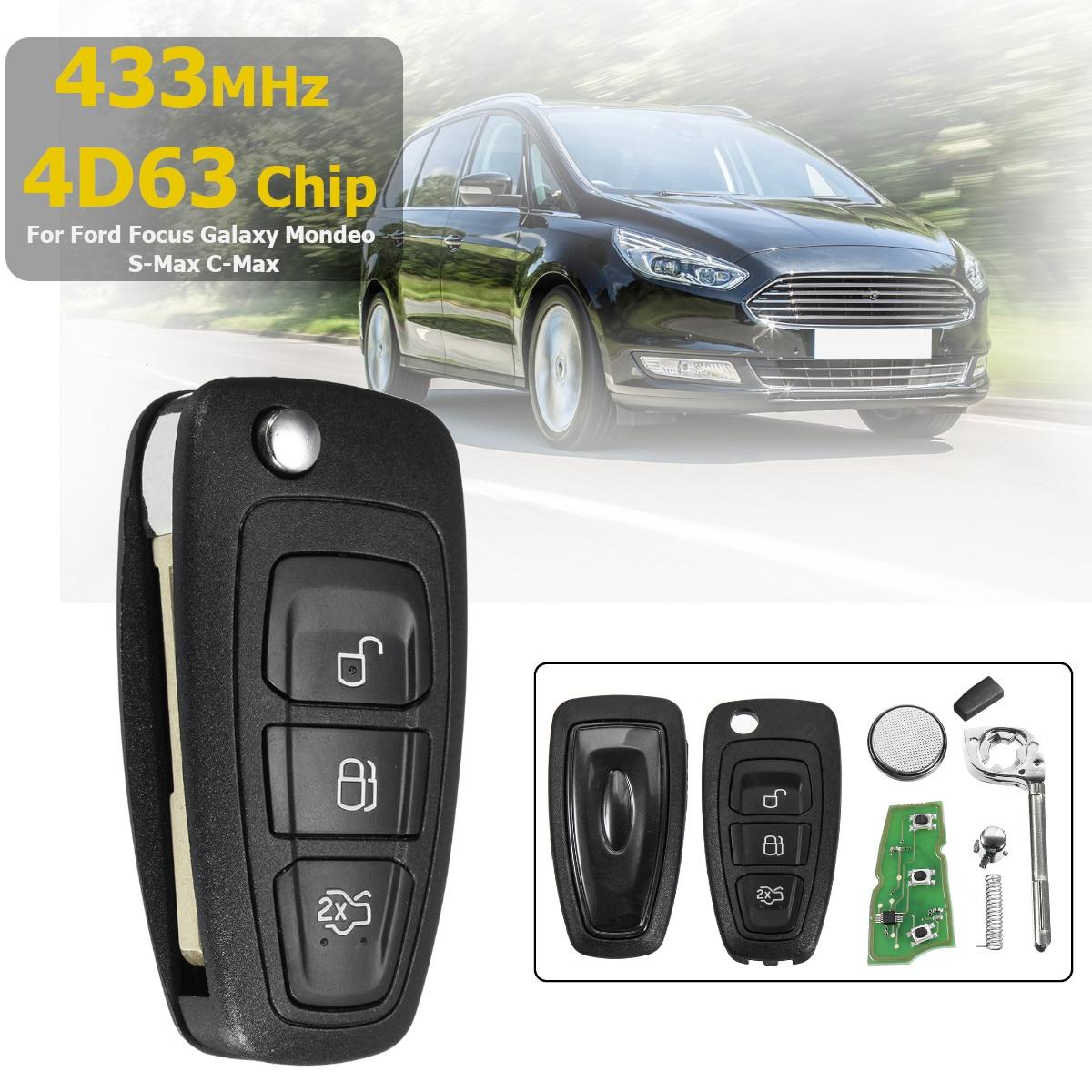 433 MHz 3 Taste Flip Folding Remote Key 4D63 Chip F021 Klinge Für Ford für Fokus für Galaxy für Mondeo für S-Max 2010-2015