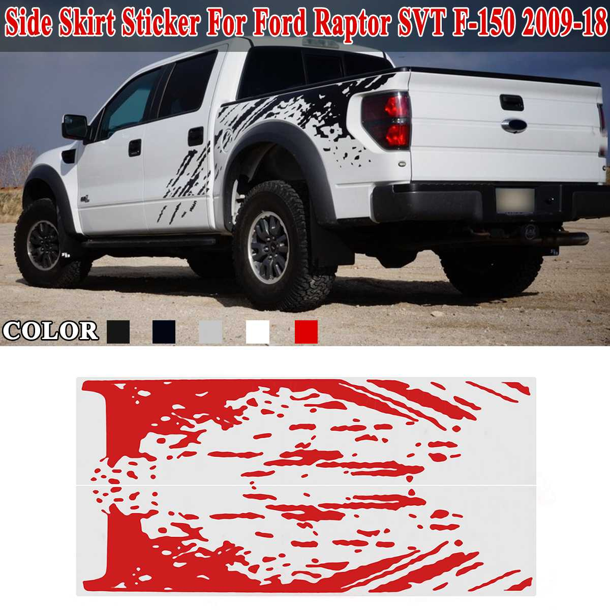 Side Bed Mud Splash Kit Decal <font><b>Sticker</b></font> Vinyl For <font><b>Ford</b></font> <font><b>Raptor</b></font> SVT F-150 2009-2018 Trunk <font><b>Sticker</b></font> Door Side Body Decal Car Styling image