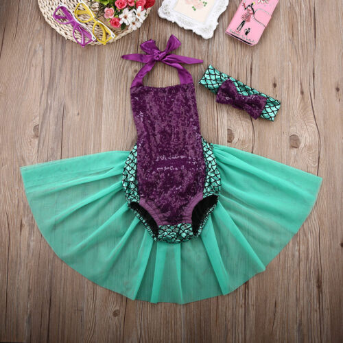 Sequin Newborn Baby Girls Mermaid Tulle   Romper   Jumpsuit Sunsuit Outfits