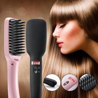 30W High Quality Professional Hair Brush Straightener LCD Display Electric Hair Comb Straightening Hair Styling Tools US Plug