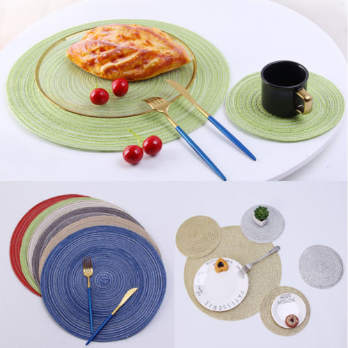 Eco Friendly 1836cm Round Straw Woven Fabric Placemats Heat Insulation Pad Table Setting Place