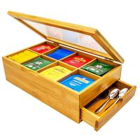Simple Tea Leaf Storage Box With Drawer Bamboo 8 Compartments Easily Sorting Wooden Packet Storing Delicate Tea Spoons Sweetener