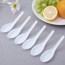 50 шт./упак. одноразовые ложки прозрачный Пластик азиатские суповые ложки для дома Кухня Ресторан(белый