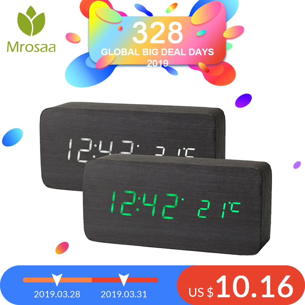 Mrosaa Holz LED Alarm Uhren Temperatur Elektronische Uhr Sounds Steuerung Digitale LED Display Desktop Kalender Tisch uhr