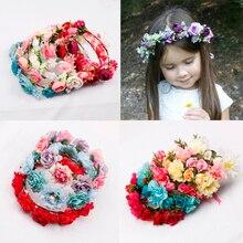 Oaoleer Hair Accessories Flower Headband for Women Girls Garland Floral Crown Wedding Bridal Artificial Flowers Wreath