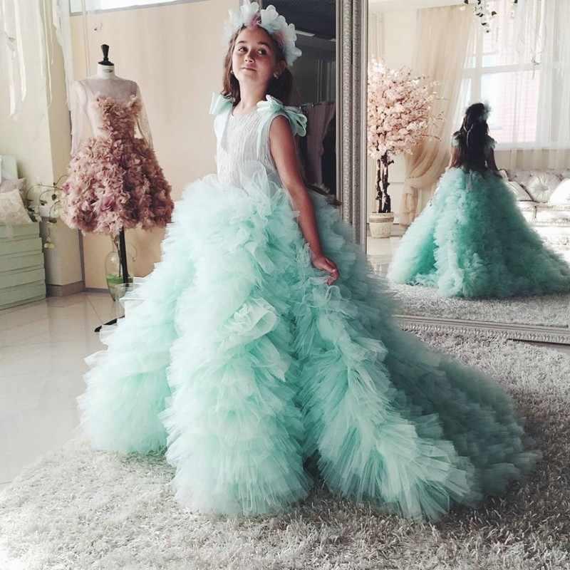 מנטה ירוק פרח ילדה שמלות 2019 ראשון קודש עבור בנות כדור שמלת מסיבת חתונת ילדי שמלת ערב לנשף שמלה