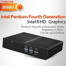 MSECORE Pentium 3556 Fanless mini pc Windows 10 NUC barebone system Intel Nettop Linux Desktop Computer HD Graphics 300M WiFi
