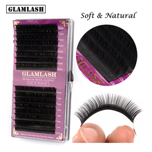 GLAMLASH High Quality 16Lines natural silk mink Eyelash Extension  Individual Soft All Size Fake Eye Lashes Maquiagem Cilios