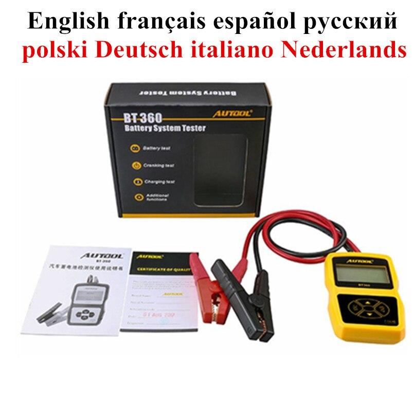 Autool Bt360 12v Carro Original Auto Testador de Bateria Analisador de Bateria Automotiva Multi-idioma Espanhol Russo Suporte 2000 En /cca