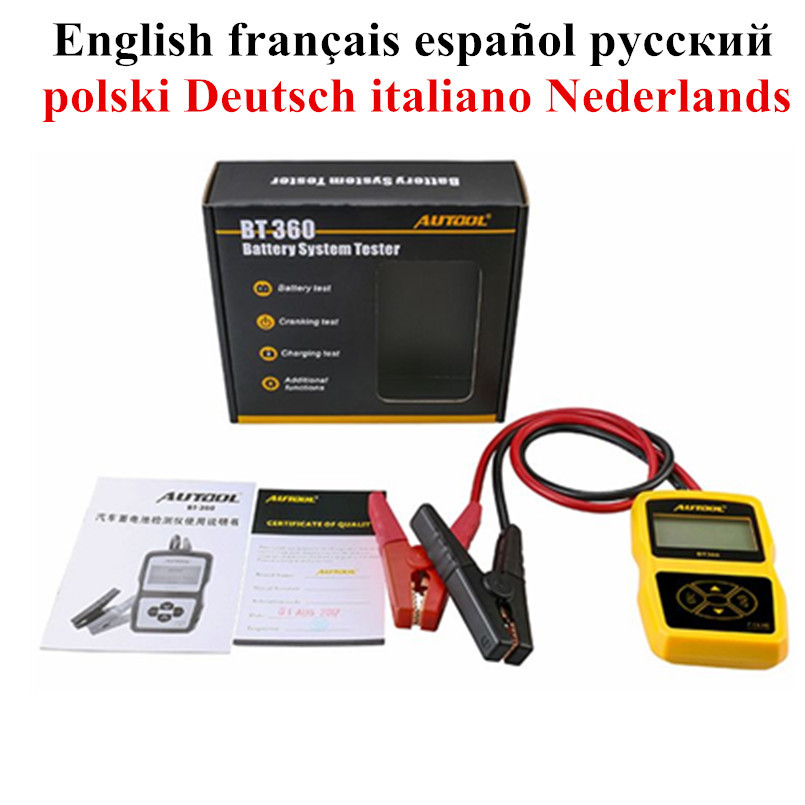 Genuine AUTOOL BT-360 12V Vehicle Battery System Tester Charging Tester Analyzer