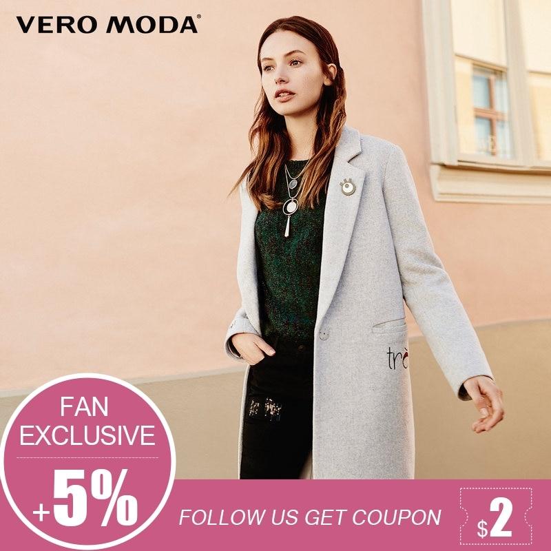Vero Moda marke 2018 NEUE stickerei buchstaben gerade 40% wolle sexy weibliche lange jacke mantel revers | 317427513