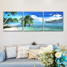 Modern Seascape Canvas HD Print Poster Oil Painting Living Room Frameless Sailing Coconut Tree Mural