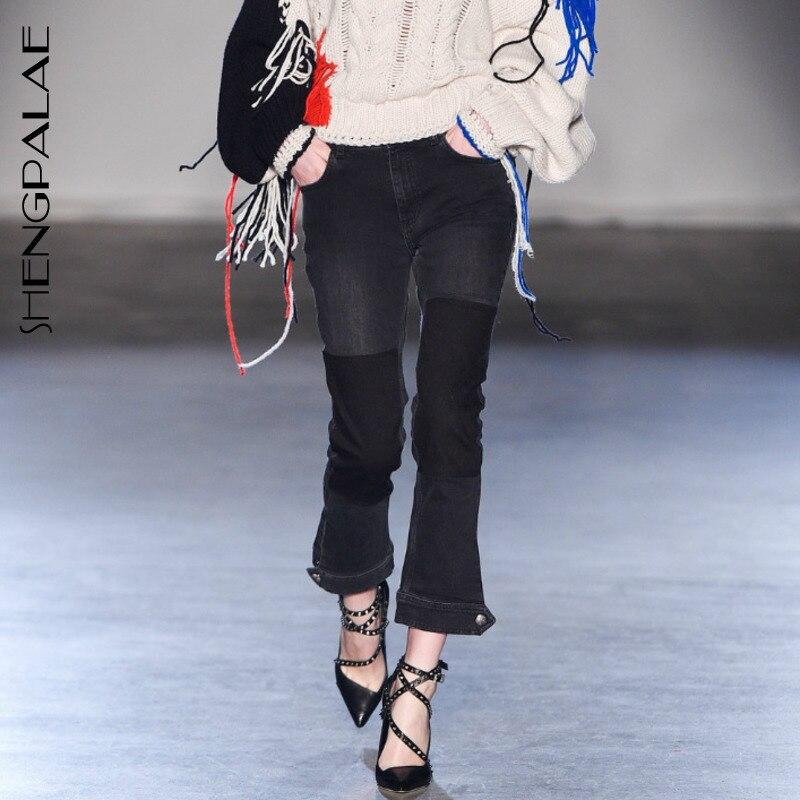 SHENGPALAE 2019 gris Patchwork noir Denim Jeans personnalité fendu fonds nouveau printemps été Vintage mode femmes pantalons FL984