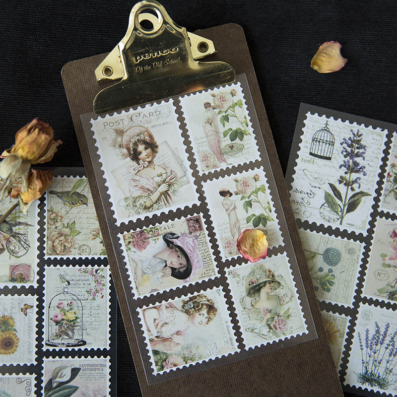 3Sheets Vintage Stamp Stickers Kawaii Girls Flower Stationery Stickers Adhesive Seal Label Stickers For Scrapbooking Decorative