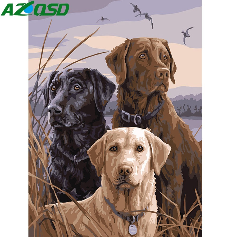 AZQSD DIY Oil Painting By Numbers Lion Dog Hand Painted Canvas Modern Wall Picture Home Decoration Wall Art Animal K439