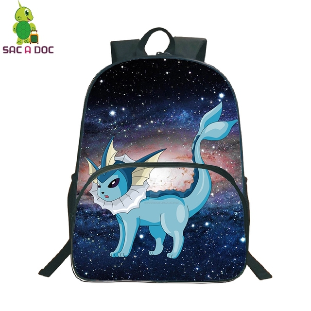 7bceaa6d3b33 Pokemon Vaporeon Galaxy Universe Space Backpack Children School Bags Daily  Backpack Women Men Leisure Travel Shoulder Bags