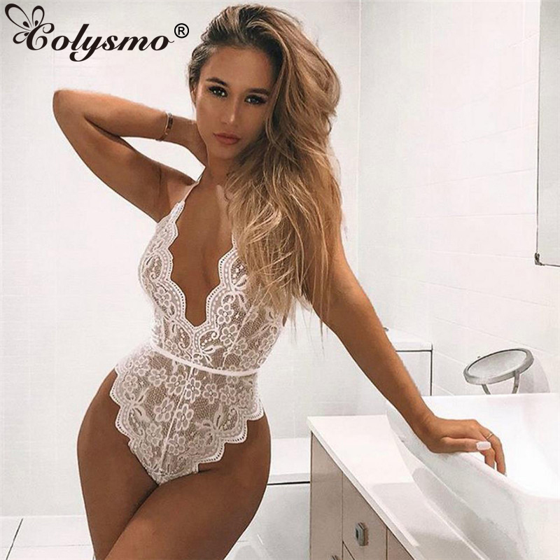 Colysmo Black Lace Bodysuit Women White Adjustable Halter Deep V-neck Hollow Out Sexy   Jumpsuit   Red Playsuit Body Mujer 2019 New