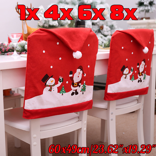 1 2 4 6 8Pcs Santa Claus Hat Chair Covers Christmas Decorations Dinner  Dining Red Cap Party Ornament New Year Chair Back Covers 2a87712f40ac