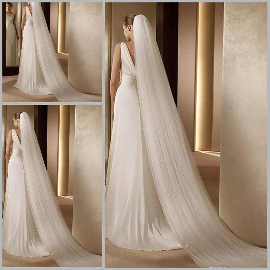 Elegant One Layer Tulle White/Ivory Veil For Bride 1T 3M Wedding Bridal Long Veil Cathedral With Comb Bride Veils
