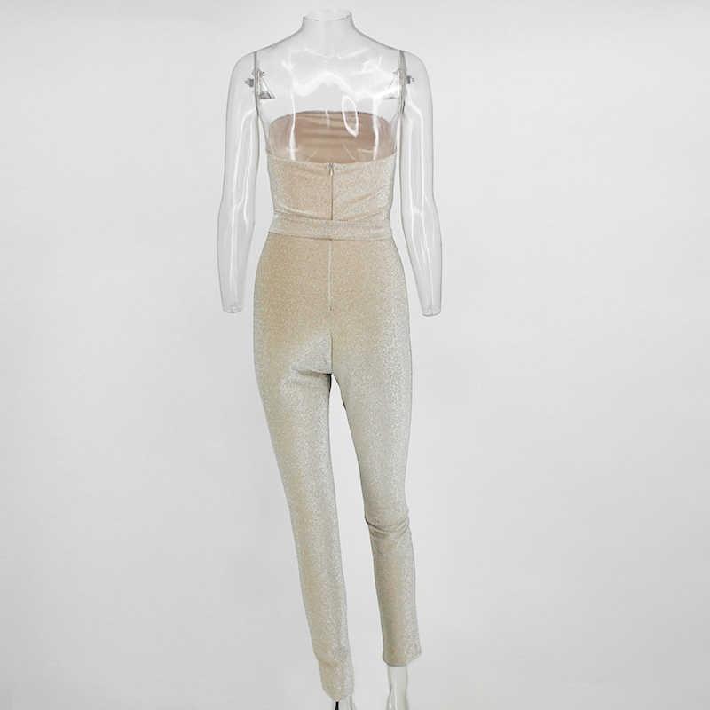 COSYGAL без бретелек блеск комбинезон Для женщин s комбинезон вечерние клубный спортивный костюм для Для женщин 2019 лето с открытыми плечами и поясом комбинезоны