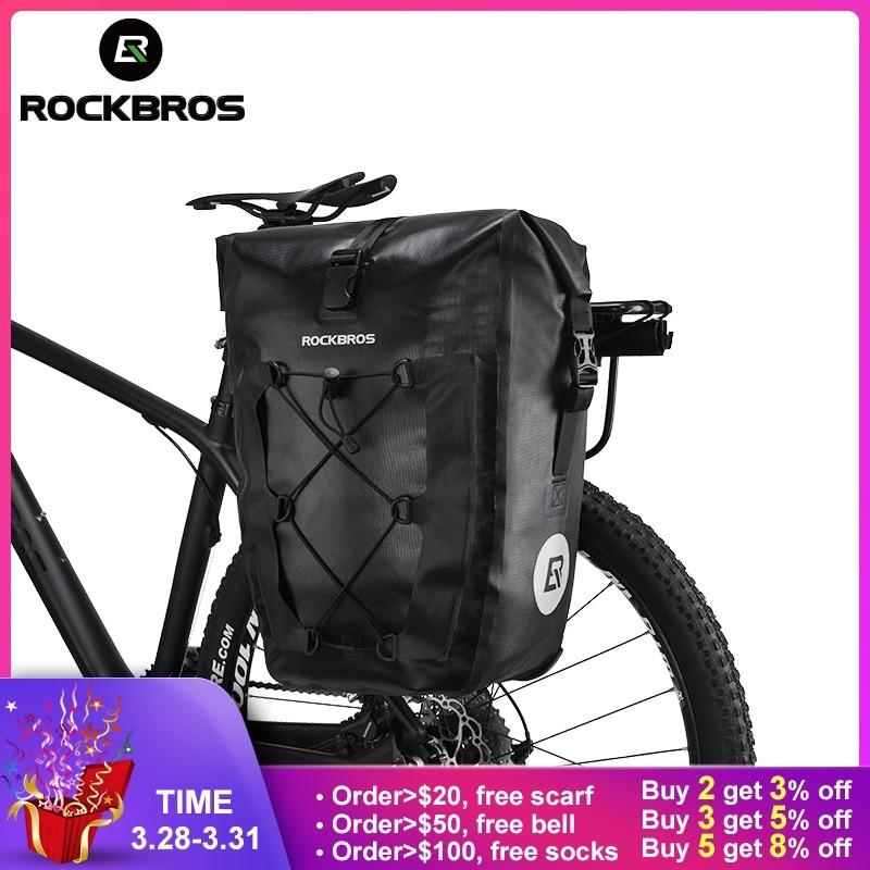 ROCKBROS водонепроницаемая сумка для велосипеда 20L Путешествия Велоспорт сумка Корзина навесная задняя велосипедная сумка заднее сиденье маги...