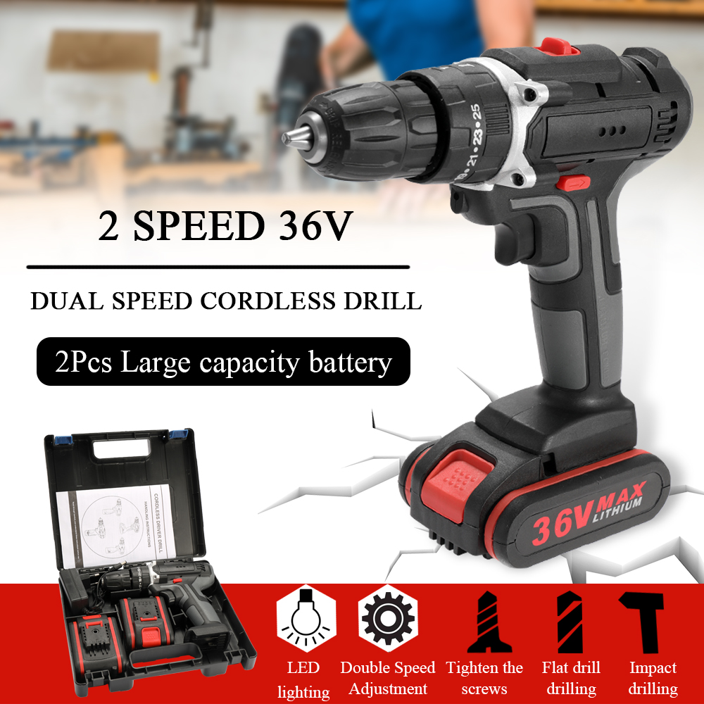 Meterk 36V Electric Impact Cordless Drill Electric Screwdriver LED light 2 Li ion Battery Rechargeable 2