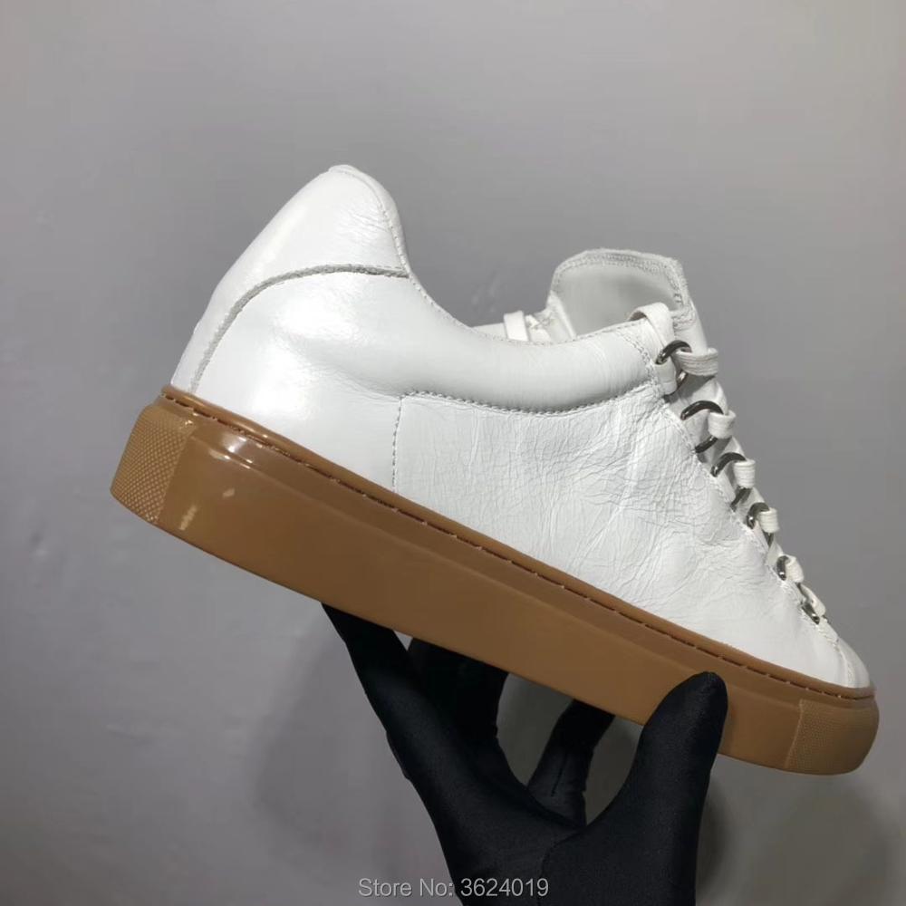 Sapatilhas Luxo Do Design Sapato Liso Corte Couro De Baixo Sapatos Branco Homem Calçados Casual Primavera Moda Marca Estilo Mocassins New 00PBq