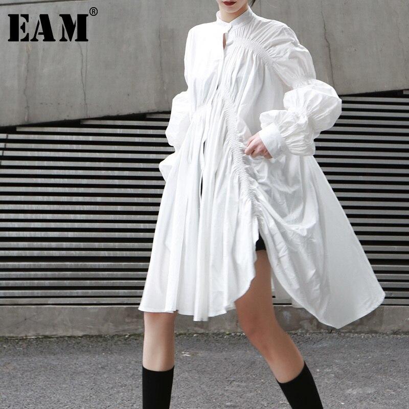[EAM] 2020 New Spring Autumn Stand Collar Long Sleeve White Pleated Stitch Irregular Big Size Shirt Women Blouse Fashion JO478