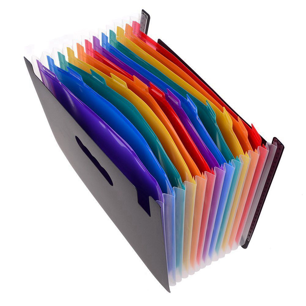 12 Pockets Expanding Files Folder/ A4 Expandable File Organizer/ Portable Accordion File Folder/ High Capacity Multicolour Sta