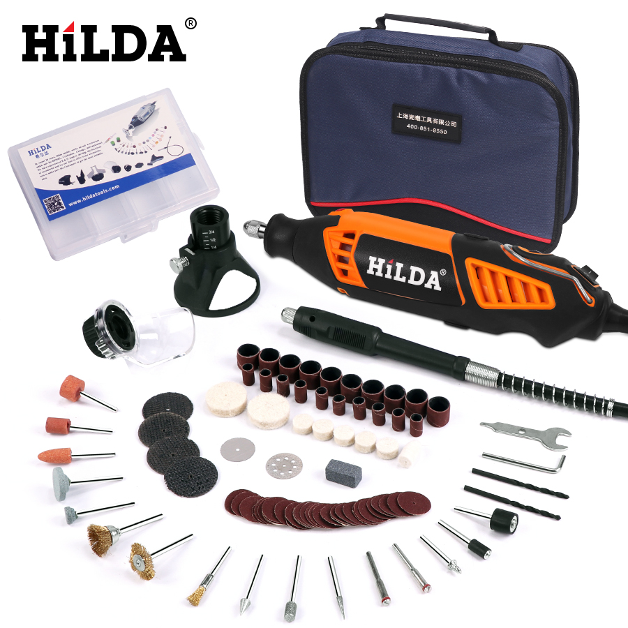 HILDA 180W Electric Mini Drill Variable Speed Rotary Tool For Dremel Mini Electric Grinder Dremel Accessories drill machine in Electric Drills from Tools