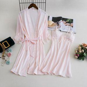 Image 1 - MECHCITIZ damska suknia ustawia 2 sztuka koszula nocna szlafrok lato bielizna nocna kobiet satynowe Kimono jedwabne szaty piżamy salon garnitur
