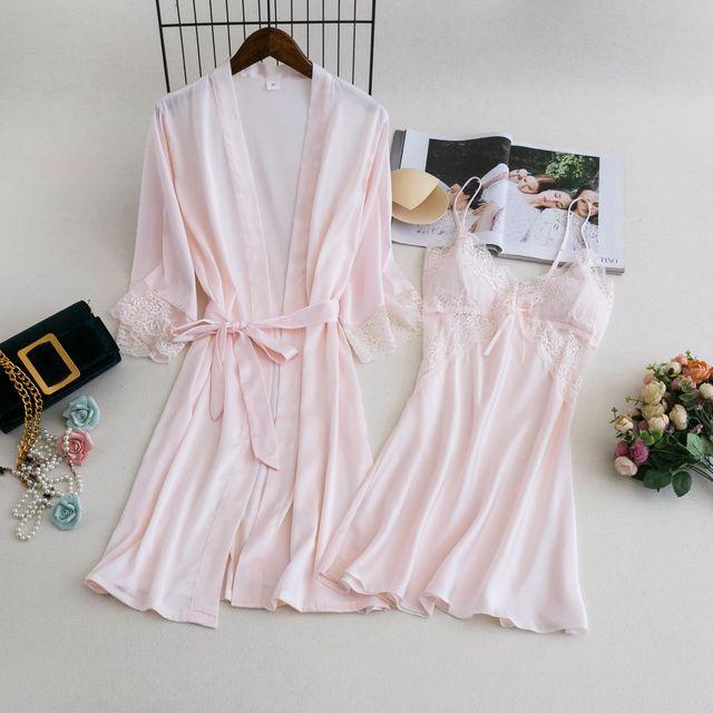 MECHCITIZ damska suknia ustawia 2 sztuka koszula nocna szlafrok lato bielizna nocna kobiet satynowe Kimono jedwabne szaty piżamy salon garnitur