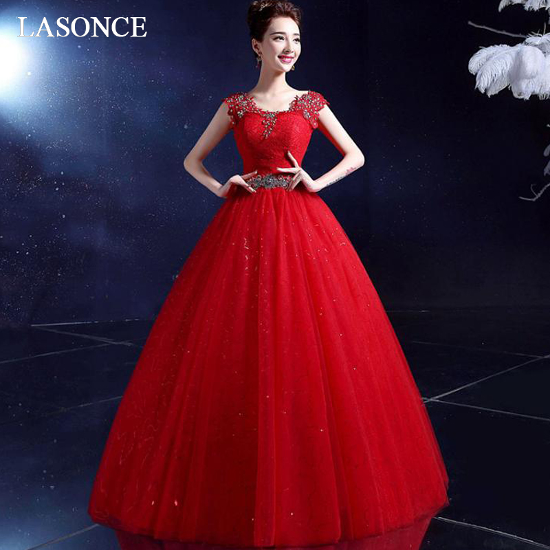 LASONCE Elegant O Neck Crystal Sash Ball Gown Wedding Dresses Lace Appliques Short Cap Sleeve Backless Bridal Gowns