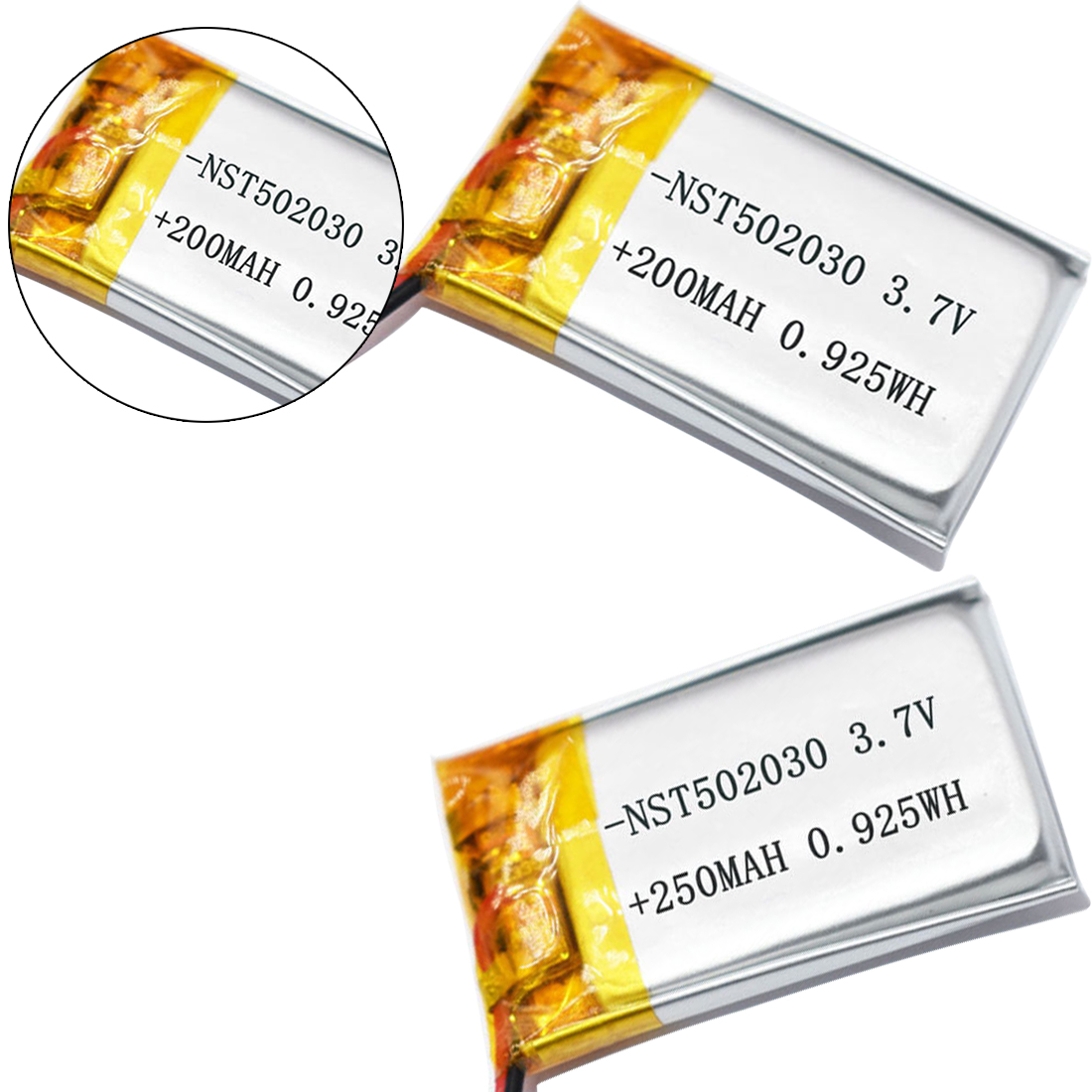200mAh 250mAh 3.7V <font><b>502025</b></font> Lithium Polymer Li-Po Li ion Rechargeable <font><b>Battery</b></font> Lipo Cells For MP3 MP4 Toys Speaker Tachograph POS image
