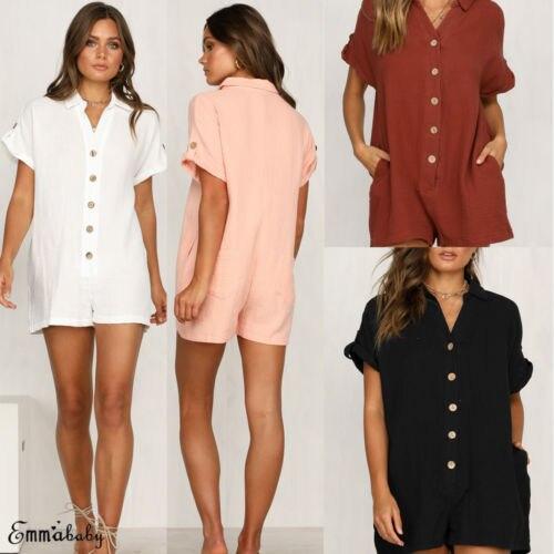 Women Lady Button Clubwear Summer Playsuit Bodycon Party   Jumpsuit   Romper Shorts