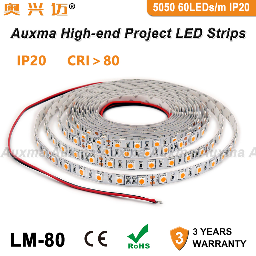 5050 60 60leds/m Tira CONDUZIDA, CRI80 RA80 IP20, DC12V/24 V, 300 LEDs/Reel, 5 metros/Reel, Não-impermeável para o interior do quarto sala de estar do hotel