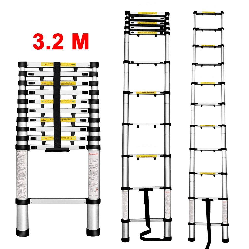 Finether 3.2 M Draagbare Heavy Duty Aluminium Telescopische Ladder met 1-Inch Vinger Bescherming Spacers 11 Stappen 330Lb Capaciteit